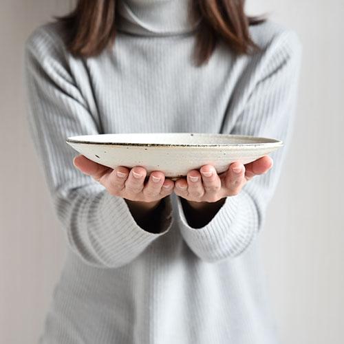 粉引 7寸ろくろ平皿【陶器・粉引】/十河 隆史